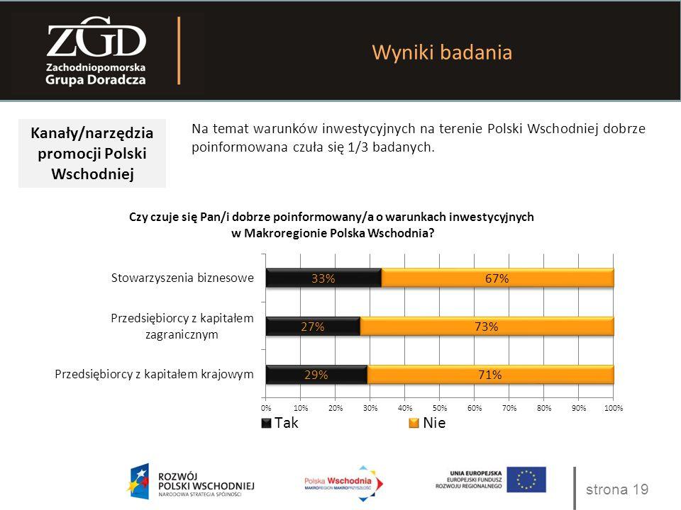 strona 19 Wyniki badania Kanały/narzędzia promocji Polski Wschodniej Na temat warunków inwestycyjnych na terenie Polski Wschodniej dobrze poinformowan