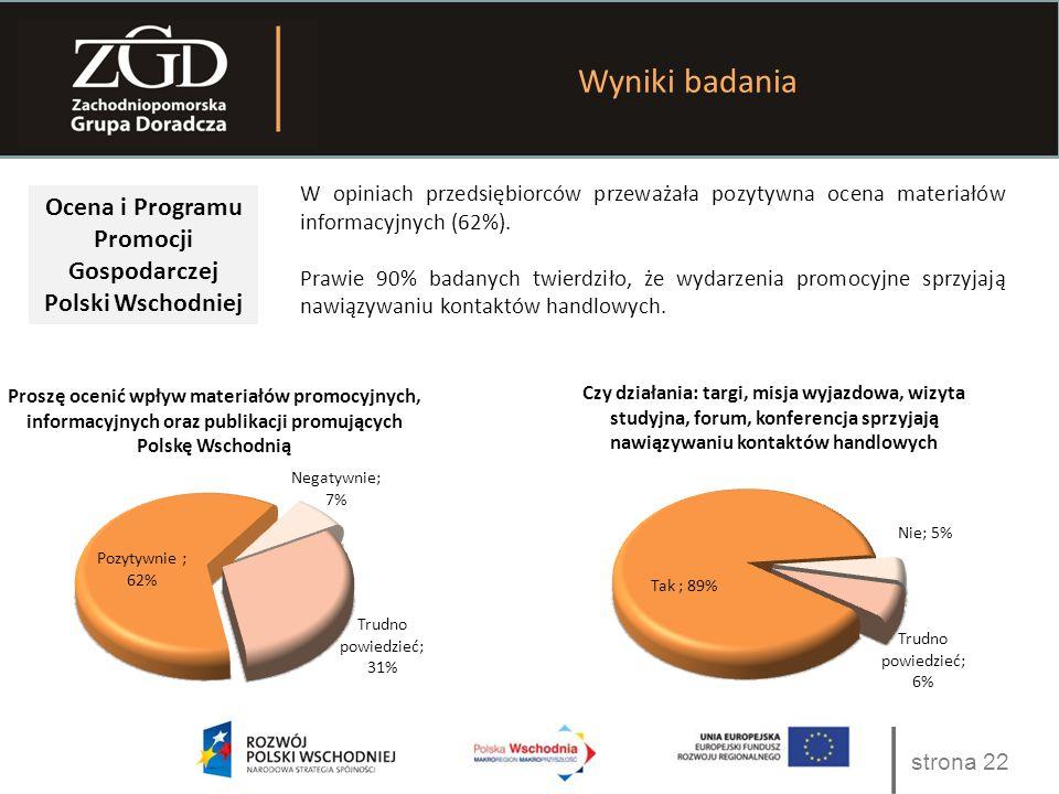 strona 22 Wyniki badania Ocena i Programu Promocji Gospodarczej Polski Wschodniej W opiniach przedsiębiorców przeważała pozytywna ocena materiałów inf
