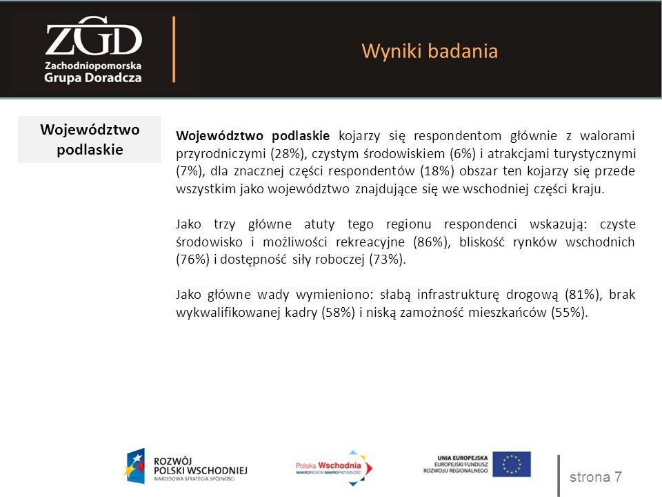 strona 7 Wyniki badania Województwo podlaskie Województwo podlaskie kojarzy się respondentom głównie z walorami przyrodniczymi (28%), czystym środowis