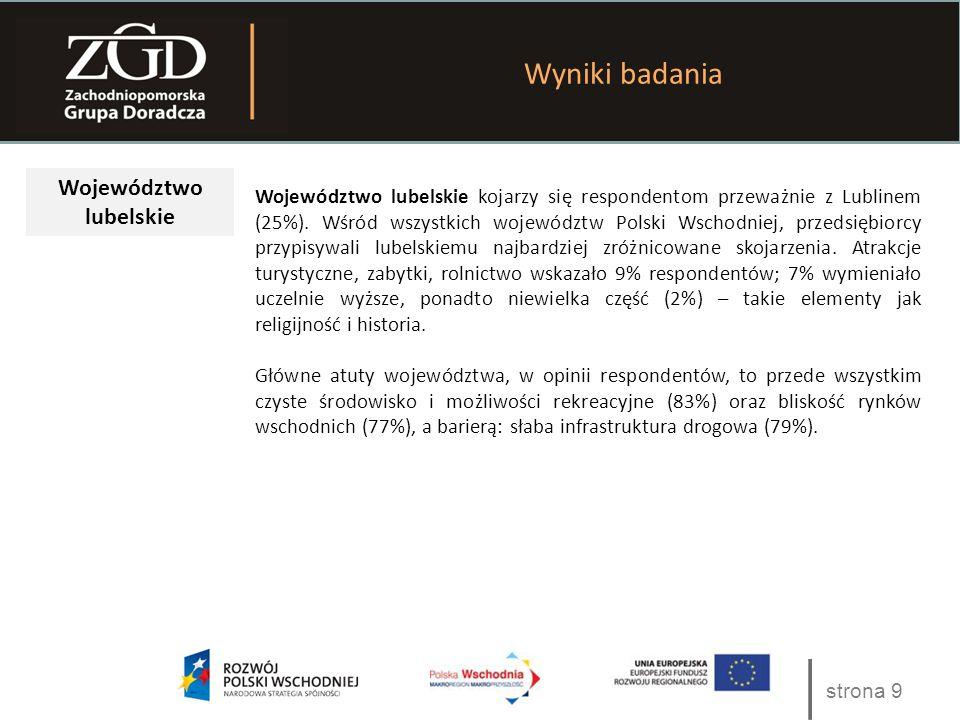 strona 9 Wyniki badania Województwo lubelskie Województwo lubelskie kojarzy się respondentom przeważnie z Lublinem (25%). Wśród wszystkich województw