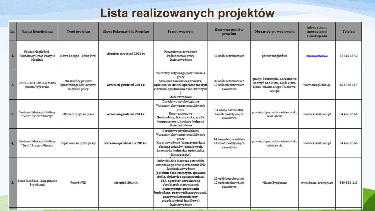 Lista realizowanych projektów