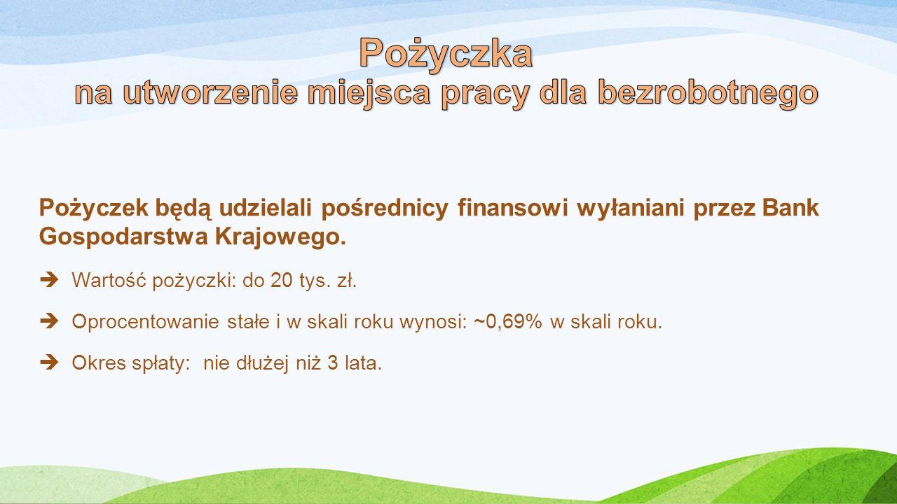 Pożyczek będą udzielali pośrednicy finansowi wyłaniani przez Bank Gospodarstwa Krajowego.  Wartość pożyczki: do 20 tys. zł.  Oprocentowanie stałe i