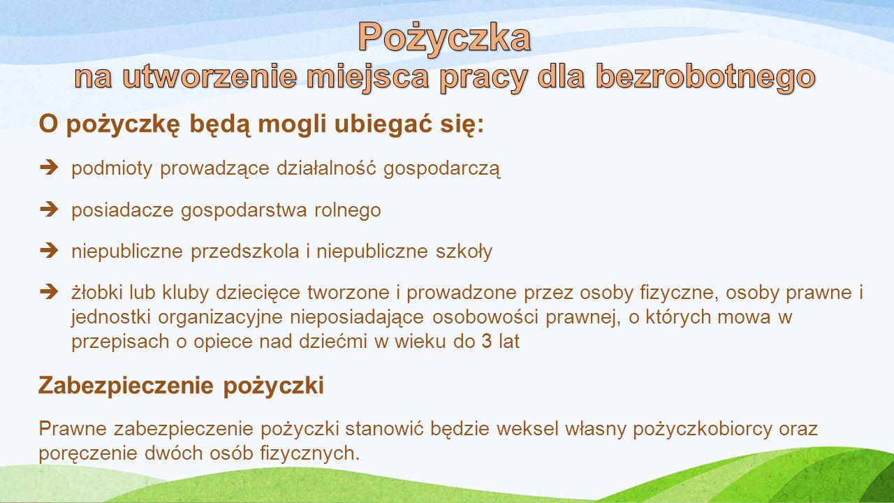 O pożyczkę będą mogli ubiegać się:  podmioty prowadzące działalność gospodarczą  posiadacze gospodarstwa rolnego  niepubliczne przedszkola i niepub