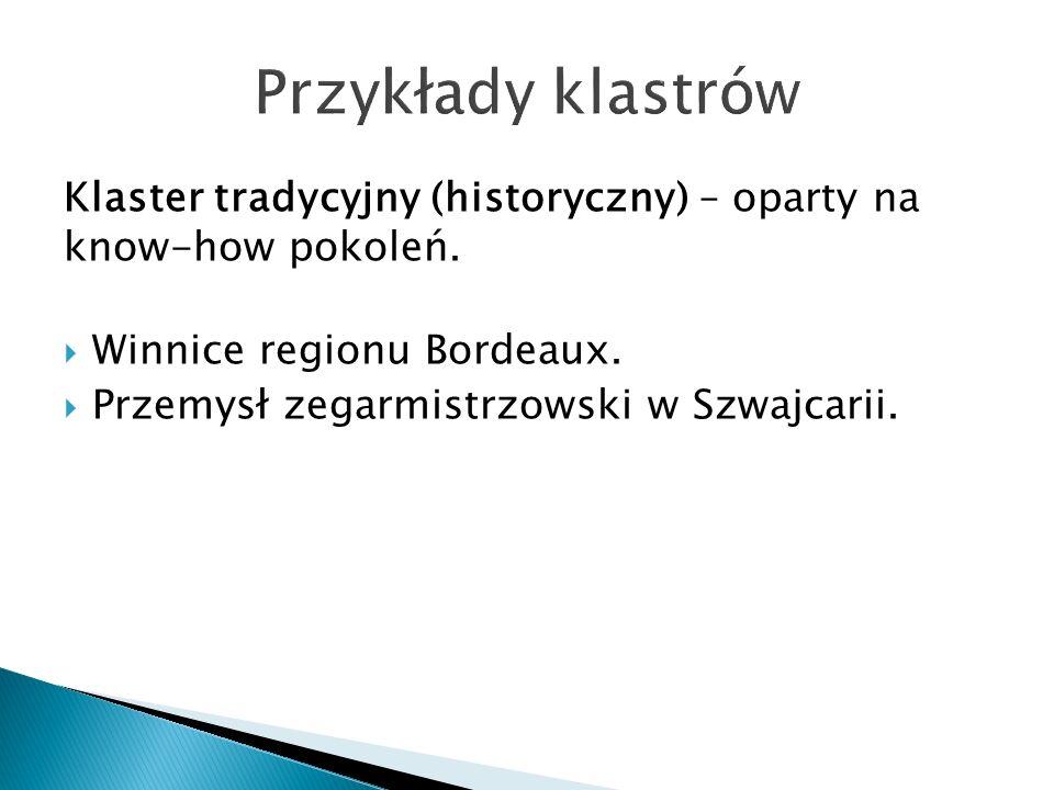 Klaster tradycyjny (historyczny) – oparty na know-how pokoleń.  Winnice regionu Bordeaux.  Przemysł zegarmistrzowski w Szwajcarii.