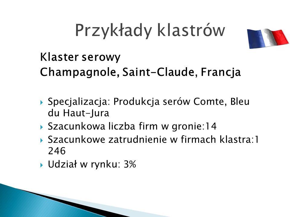 Klaster serowy Champagnole, Saint-Claude, Francja  Specjalizacja: Produkcja serów Comte, Bleu du Haut-Jura  Szacunkowa liczba firm w gronie:14  Szacunkowe zatrudnienie w firmach klastra:1 246  Udział w rynku: 3%