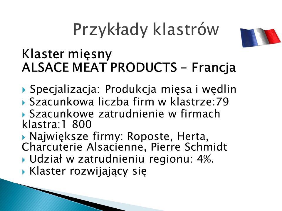 Klaster mięsny ALSACE MEAT PRODUCTS - Francja  Specjalizacja: Produkcja mięsa i wędlin  Szacunkowa liczba firm w klastrze:79  Szacunkowe zatrudnienie w firmach klastra:1 800  Największe firmy: Roposte, Herta, Charcuterie Alsacienne, Pierre Schmidt  Udział w zatrudnieniu regionu: 4%.