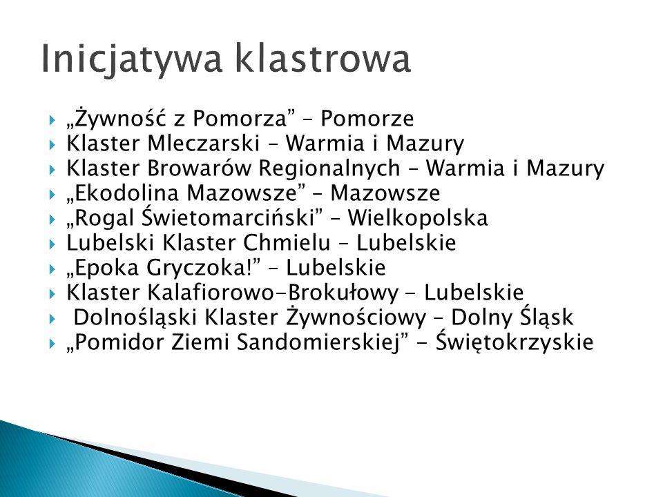 """ """"Żywność z Pomorza"""" – Pomorze  Klaster Mleczarski – Warmia i Mazury  Klaster Browarów Regionalnych – Warmia i Mazury  """"Ekodolina Mazowsze"""" – Mazo"""