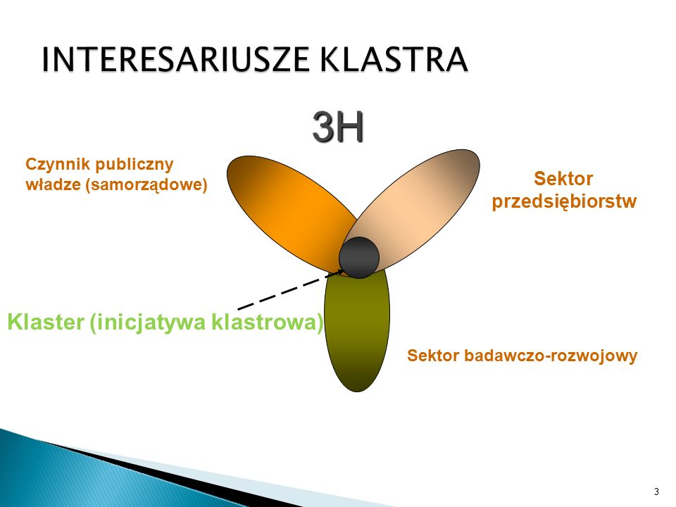 3 Czynnik publiczny władze (samorządowe) Sektor przedsiębiorstw Sektor badawczo-rozwojowy Klaster (inicjatywa klastrowa) 3H