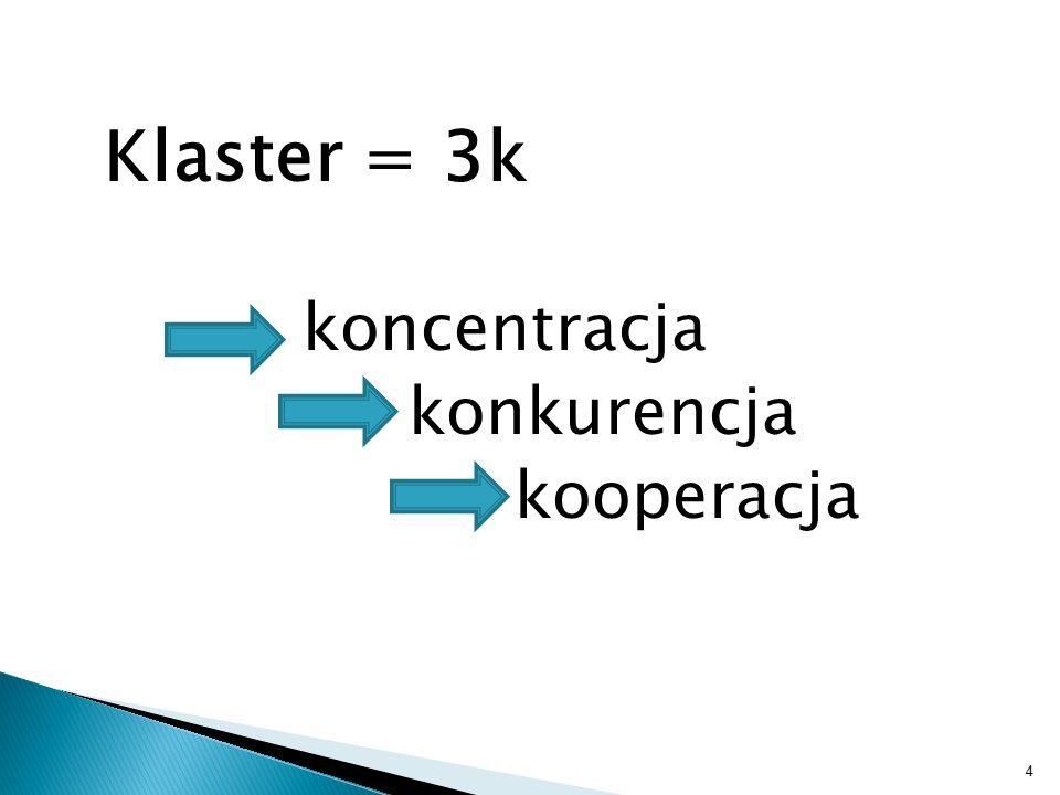 4 Klaster = 3k koncentracja konkurencja kooperacja
