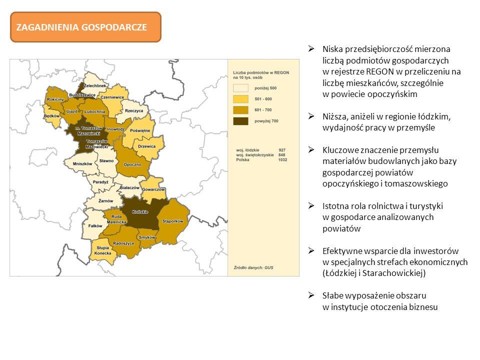  Niska przedsiębiorczość mierzona liczbą podmiotów gospodarczych w rejestrze REGON w przeliczeniu na liczbę mieszkańców, szczególnie w powiecie opoczyńskim  Niższa, aniżeli w regionie łódzkim, wydajność pracy w przemyśle  Kluczowe znaczenie przemysłu materiałów budowlanych jako bazy gospodarczej powiatów opoczyńskiego i tomaszowskiego  Istotna rola rolnictwa i turystyki w gospodarce analizowanych powiatów  Efektywne wsparcie dla inwestorów w specjalnych strefach ekonomicznych (Łódzkiej i Starachowickiej)  Słabe wyposażenie obszaru w instytucje otoczenia biznesu ZAGADNIENIA GOSPODARCZE