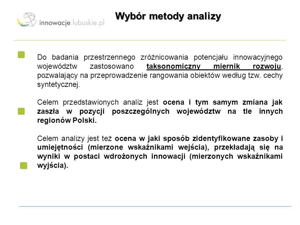 Wybór metody analizy Do badania przestrzennego zróżnicowania potencjału innowacyjnego województw zastosowano taksonomiczny miernik rozwoju, pozwalając