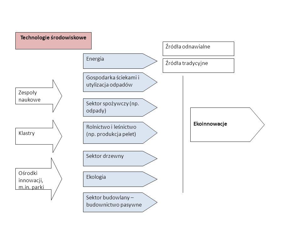 Technologie środowiskowe Energia Sektor drzewny Ekologia Gospodarka ściekami i utylizacja odpadów Ekoinnowacje Sektor spożywczy (np.
