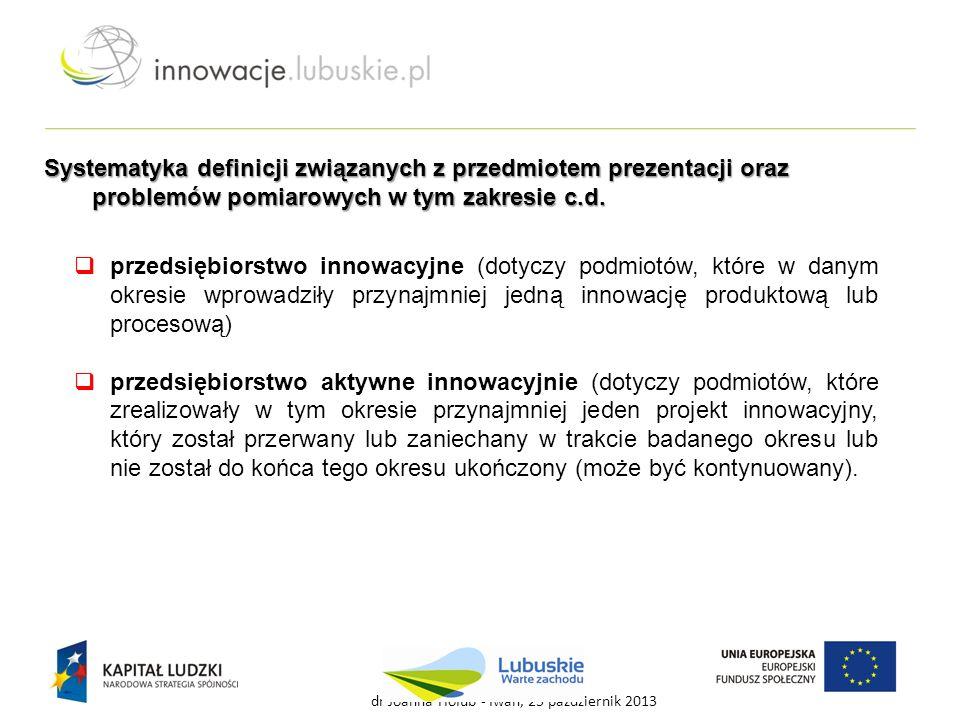  przedsiębiorstwo innowacyjne (dotyczy podmiotów, które w danym okresie wprowadziły przynajmniej jedną innowację produktową lub procesową)  przedsię