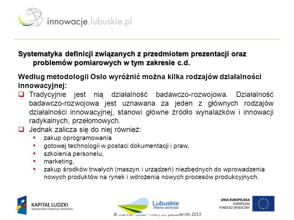 Według metodologii Oslo wyróżnić można kilka rodzajów działalności innowacyjnej:  Tradycyjnie jest nią działalność badawczo-rozwojowa. Działalność ba