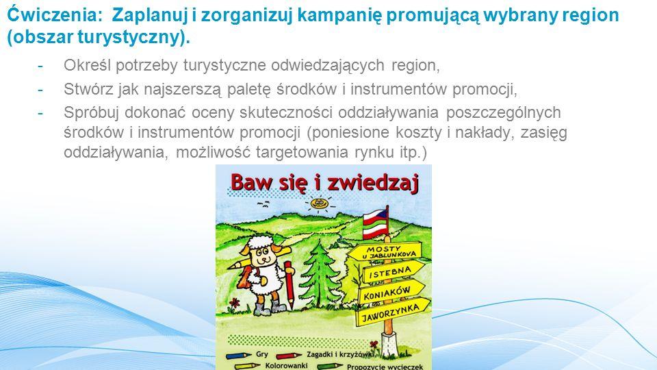 Ćwiczenia: Zaplanuj i zorganizuj kampanię promującą wybrany region (obszar turystyczny).