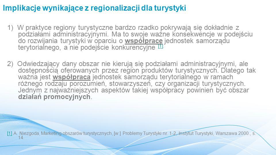 Implikacje wynikające z regionalizacji dla turystyki 1) W praktyce regiony turystyczne bardzo rzadko pokrywają się dokładnie z podziałami administracyjnymi.