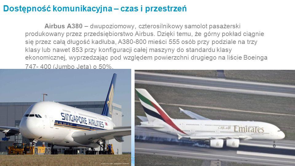Dostępność komunikacyjna – czas i przestrzeń Airbus A380 – dwupoziomowy, czterosilnikowy samolot pasażerski produkowany przez przedsiębiorstwo Airbus.