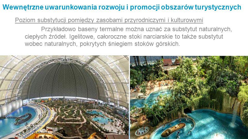 Wewnętrzne uwarunkowania rozwoju i promocji obszarów turystycznych Poziom substytucji pomiędzy zasobami przyrodniczymi i kulturowymi Przykładowo baseny termalne można uznać za substytut naturalnych, ciepłych źródeł.