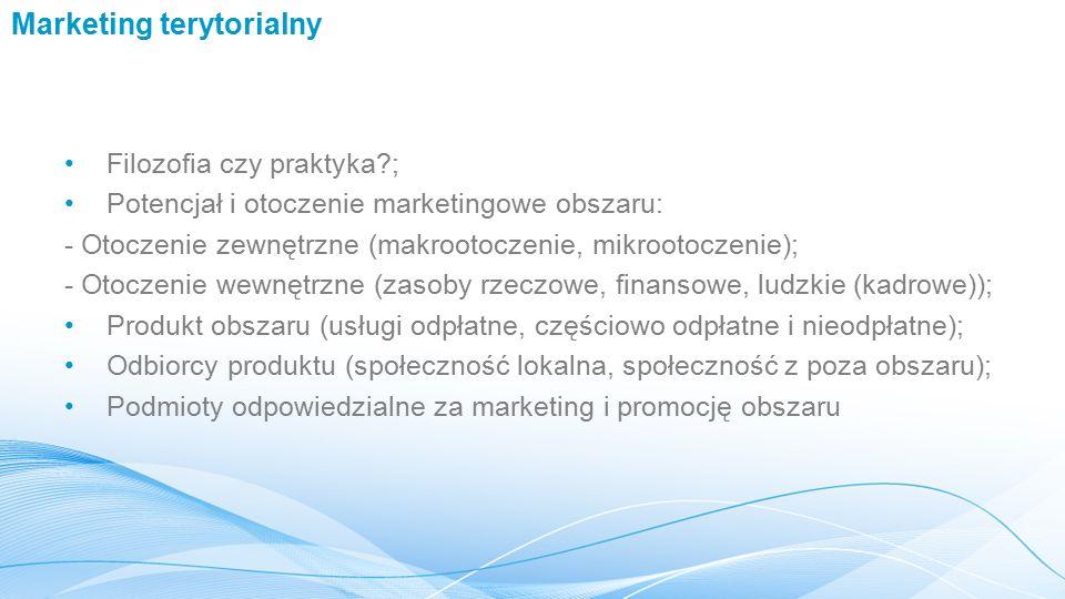 Marketing terytorialny Filozofia czy praktyka?; Potencjał i otoczenie marketingowe obszaru: - Otoczenie zewnętrzne (makrootoczenie, mikrootoczenie); - Otoczenie wewnętrzne (zasoby rzeczowe, finansowe, ludzkie (kadrowe)); Produkt obszaru (usługi odpłatne, częściowo odpłatne i nieodpłatne); Odbiorcy produktu (społeczność lokalna, społeczność z poza obszaru); Podmioty odpowiedzialne za marketing i promocję obszaru