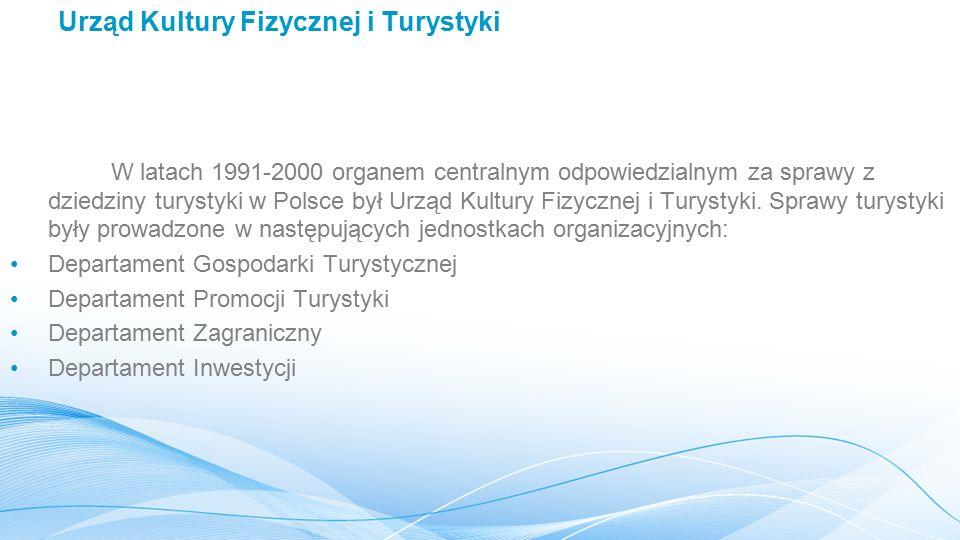 Urząd Kultury Fizycznej i Turystyki W latach 1991-2000 organem centralnym odpowiedzialnym za sprawy z dziedziny turystyki w Polsce był Urząd Kultury Fizycznej i Turystyki.
