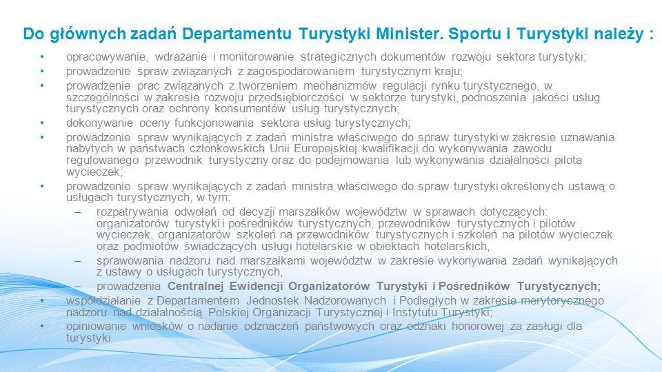 Do głównych zadań Departamentu Turystyki Minister.