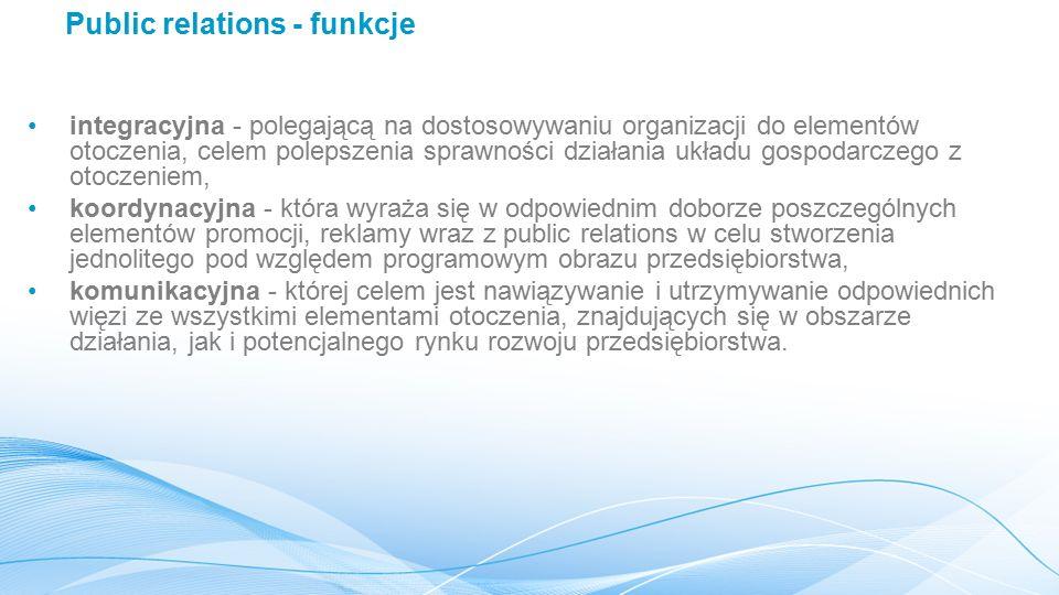 Public relations - funkcje integracyjna - polegającą na dostosowywaniu organizacji do elementów otoczenia, celem polepszenia sprawności działania układu gospodarczego z otoczeniem, koordynacyjna - która wyraża się w odpowiednim doborze poszczególnych elementów promocji, reklamy wraz z public relations w celu stworzenia jednolitego pod względem programowym obrazu przedsiębiorstwa, komunikacyjna - której celem jest nawiązywanie i utrzymywanie odpowiednich więzi ze wszystkimi elementami otoczenia, znajdujących się w obszarze działania, jak i potencjalnego rynku rozwoju przedsiębiorstwa.