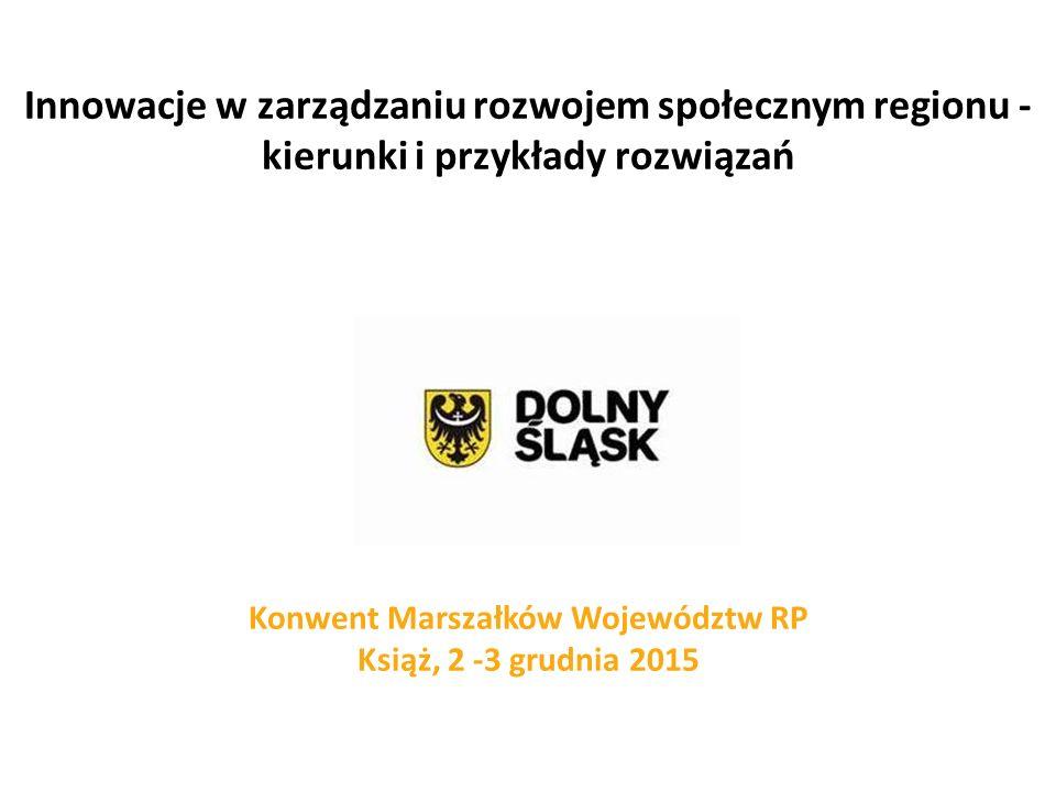 Innowacje w zarządzaniu rozwojem społecznym regionu - kierunki i przykłady rozwiązań Konwent Marszałków Województw RP Książ, 2 -3 grudnia 2015