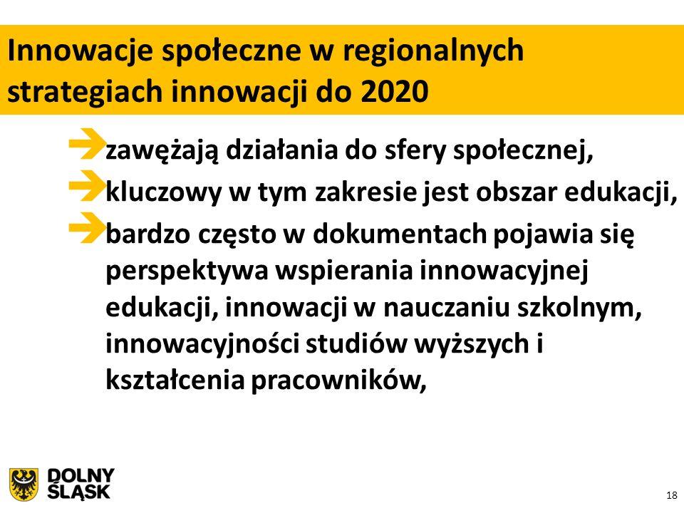 18  zawężają działania do sfery społecznej,  kluczowy w tym zakresie jest obszar edukacji,  bardzo często w dokumentach pojawia się perspektywa wspierania innowacyjnej edukacji, innowacji w nauczaniu szkolnym, innowacyjności studiów wyższych i kształcenia pracowników, Innowacje społeczne w regionalnych strategiach innowacji do 2020