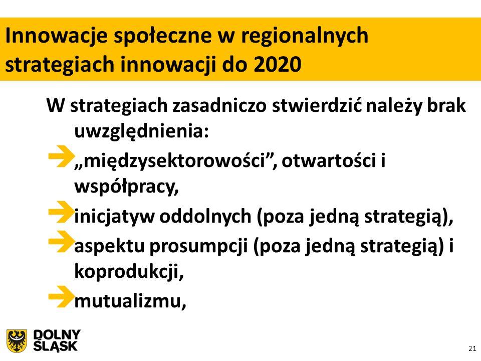 """21 W strategiach zasadniczo stwierdzić należy brak uwzględnienia:  """"międzysektorowości , otwartości i współpracy,  inicjatyw oddolnych (poza jedną strategią),  aspektu prosumpcji (poza jedną strategią) i koprodukcji,  mutualizmu, Innowacje społeczne w regionalnych strategiach innowacji do 2020"""