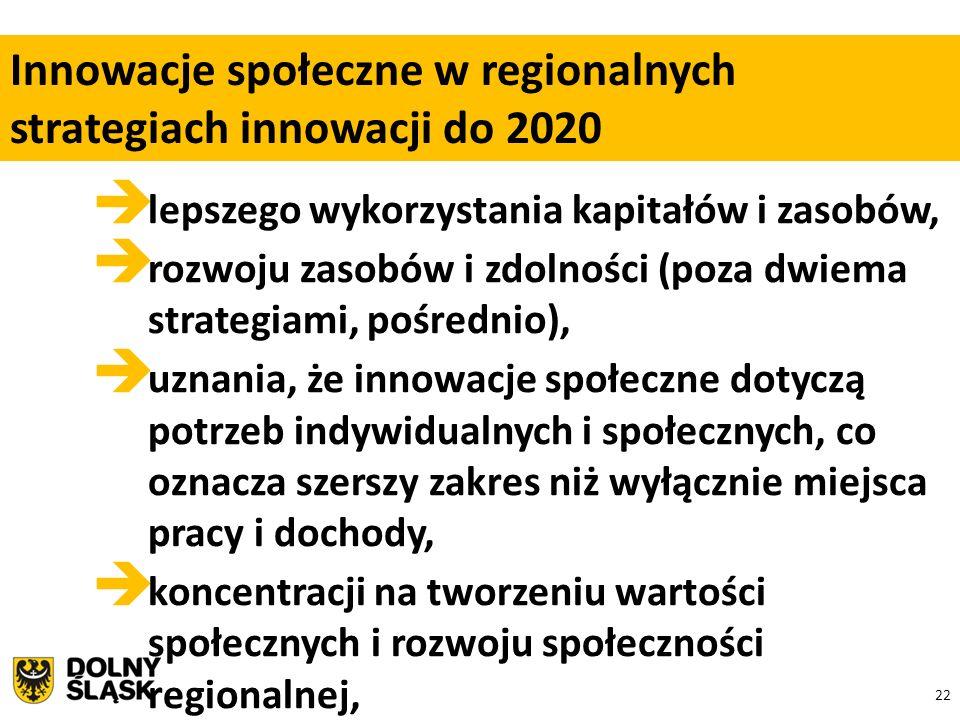 22  lepszego wykorzystania kapitałów i zasobów,  rozwoju zasobów i zdolności (poza dwiema strategiami, pośrednio),  uznania, że innowacje społeczne dotyczą potrzeb indywidualnych i społecznych, co oznacza szerszy zakres niż wyłącznie miejsca pracy i dochody,  koncentracji na tworzeniu wartości społecznych i rozwoju społeczności regionalnej, Innowacje społeczne w regionalnych strategiach innowacji do 2020