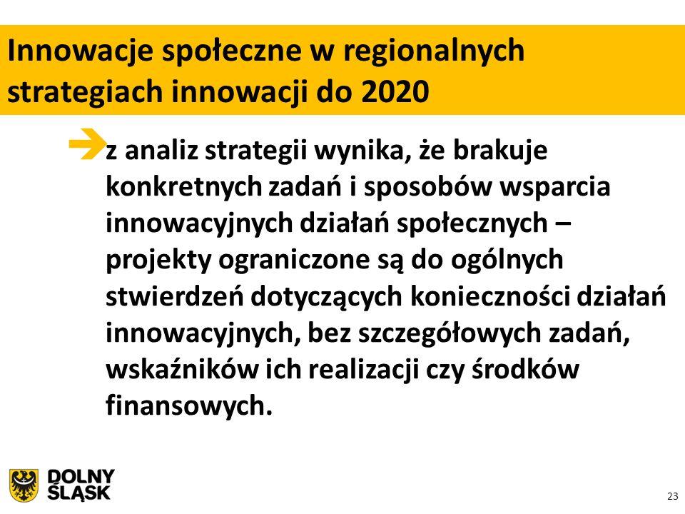 23  z analiz strategii wynika, że brakuje konkretnych zadań i sposobów wsparcia innowacyjnych działań społecznych – projekty ograniczone są do ogólnych stwierdzeń dotyczących konieczności działań innowacyjnych, bez szczegółowych zadań, wskaźników ich realizacji czy środków finansowych.
