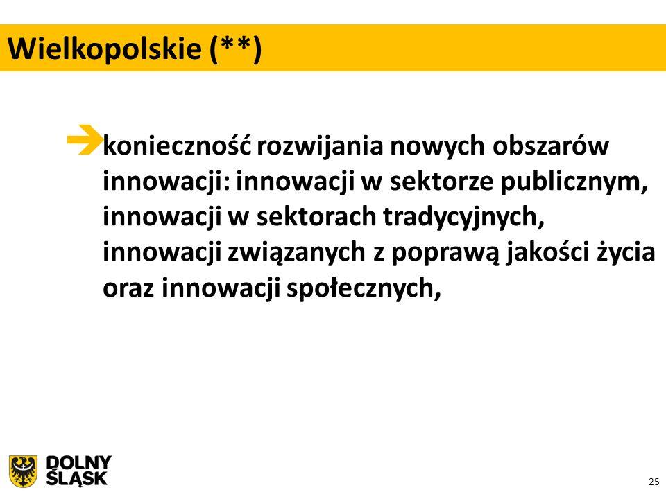 25  konieczność rozwijania nowych obszarów innowacji: innowacji w sektorze publicznym, innowacji w sektorach tradycyjnych, innowacji związanych z poprawą jakości życia oraz innowacji społecznych, Wielkopolskie (**)