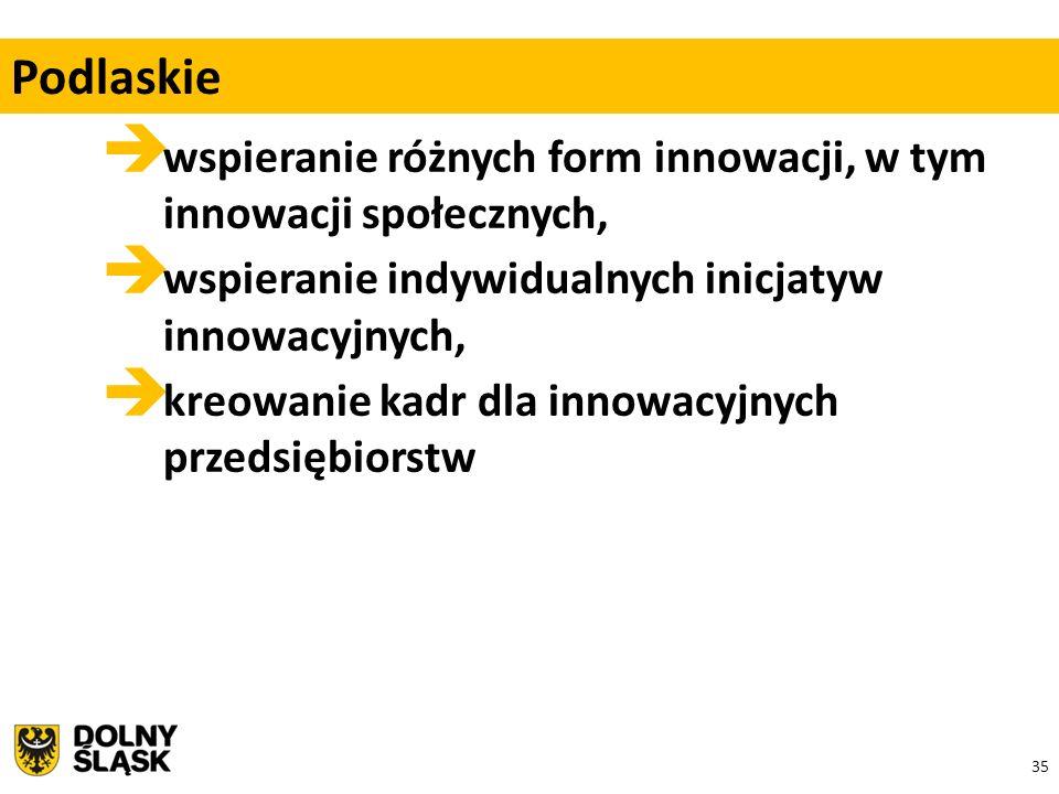 35  wspieranie różnych form innowacji, w tym innowacji społecznych,  wspieranie indywidualnych inicjatyw innowacyjnych,  kreowanie kadr dla innowacyjnych przedsiębiorstw Podlaskie