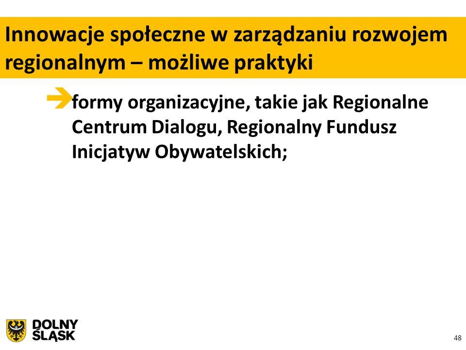 48  formy organizacyjne, takie jak Regionalne Centrum Dialogu, Regionalny Fundusz Inicjatyw Obywatelskich; Innowacje społeczne w zarządzaniu rozwojem