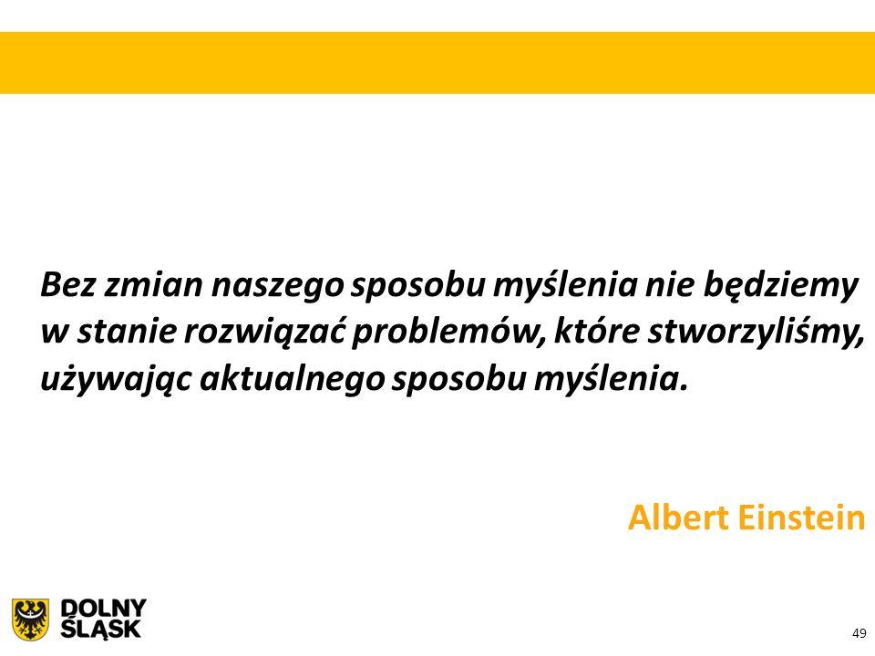 49 Bez zmian naszego sposobu myślenia nie będziemy w stanie rozwiązać problemów, które stworzyliśmy, używając aktualnego sposobu myślenia. Albert Eins