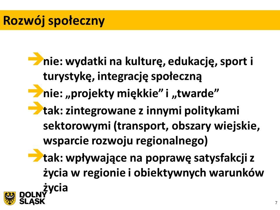 """7  nie: wydatki na kulturę, edukację, sport i turystykę, integrację społeczną  nie: """"projekty miękkie i """"twarde  tak: zintegrowane z innymi politykami sektorowymi (transport, obszary wiejskie, wsparcie rozwoju regionalnego)  tak: wpływające na poprawę satysfakcji z życia w regionie i obiektywnych warunków życia Rozwój społeczny"""