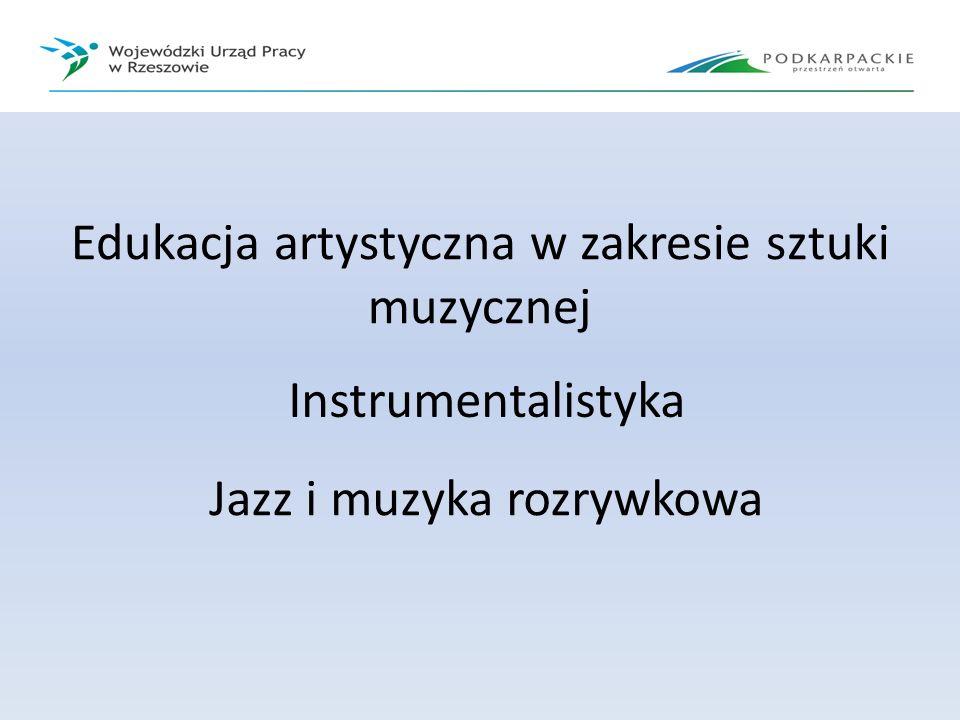 Edukacja artystyczna w zakresie sztuki muzycznej Instrumentalistyka Jazz i muzyka rozrywkowa