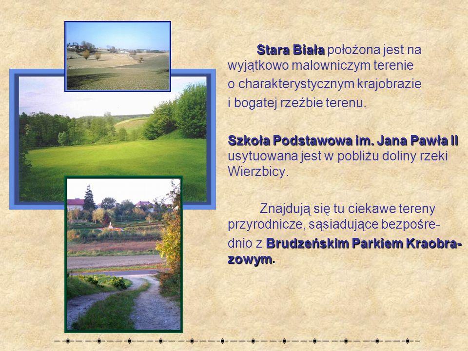 Stara Biała Stara Biała położona jest na wyjątkowo malowniczym terenie o charakterystycznym krajobrazie i bogatej rzeźbie terenu.