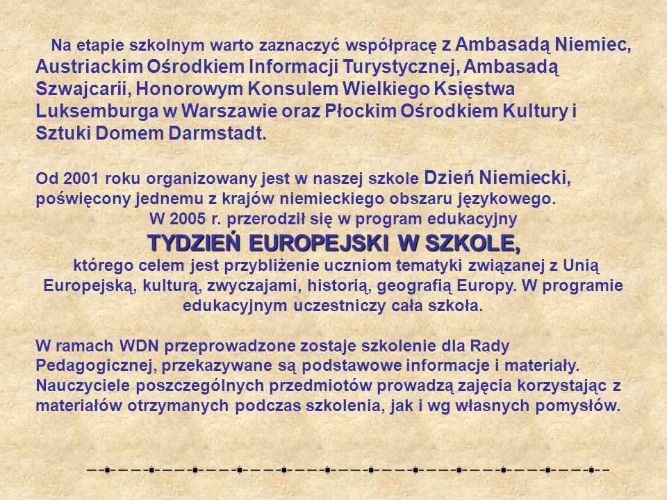 Na etapie szkolnym warto zaznaczyć współpracę z Ambasadą Niemiec, Austriackim Ośrodkiem Informacji Turystycznej, Ambasadą Szwajcarii, Honorowym Konsulem Wielkiego Księstwa Luksemburga w Warszawie oraz Płockim Ośrodkiem Kultury i Sztuki Domem Darmstadt.