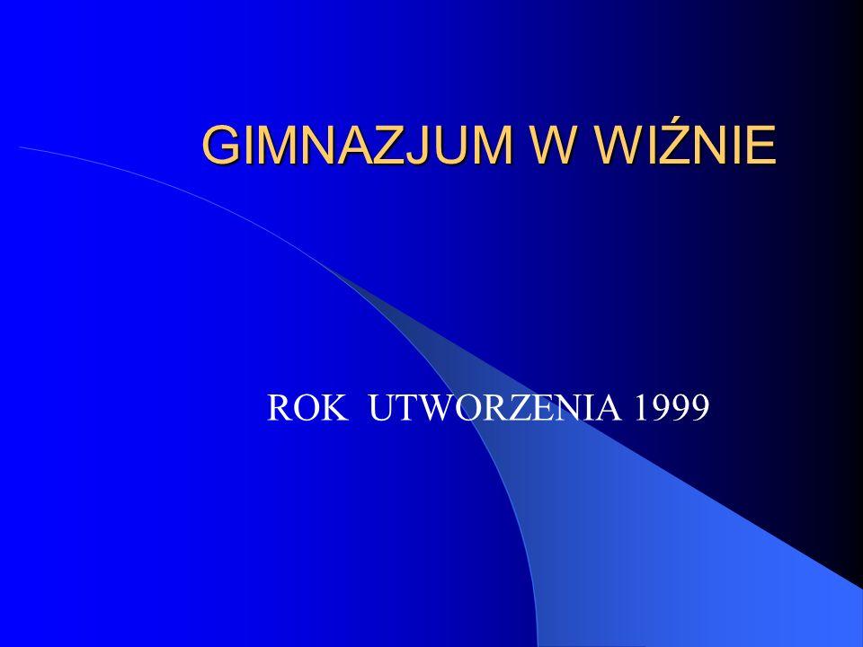 GIMNAZJUM W WIŹNIE ROK UTWORZENIA 1999