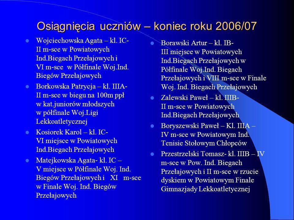 Osiągnięcia uczniów – koniec roku 2006/07 Wojciechowska Agata – kl.
