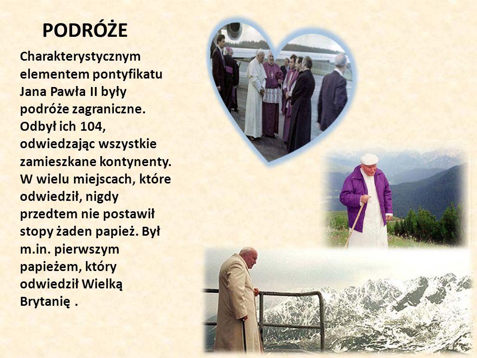 Podróże apostolskie do Polski: I pielgrzymka (2-10 czerwca 1979) II pielgrzymka (16-23 czerwca 1983) III pielgrzymka (8-14 czerwca 1987) IV pielgrzymka (1-9 czerwca, 13-20 sierpnia 1991) V pielgrzymka (22 maja 1995) VI pielgrzymka (31 maja-10 czerwca 1997) VII pielgrzymka (5-17 czerwca 1999) VIII pielgrzymka (16-19 sierpnia 2002) Jan Paweł II odbył także blisko 100 podróży na terenie Włoch (najważniejsze z nich): 20-22 maja 1985 – Mediolan 8-10 maja 1993 – Sycylia 5 września 2004 – Loreto Miejsca które odwiedził