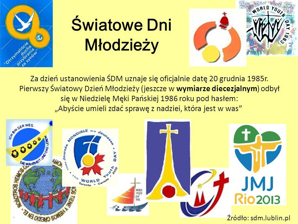 Za dzień ustanowienia ŚDM uznaje się oficjalnie datę 20 grudnia 1985r. Pierwszy Światowy Dzień Młodzieży (jeszcze w wymiarze diecezjalnym) odbył się w