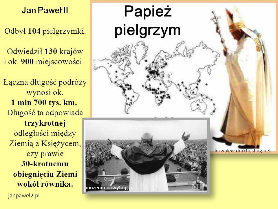 Jan Paweł II Odbył 104 pielgrzymki. Odwiedził 130 krajów i ok. 900 miejscowości. Łączna długość podróży wynosi ok. 1 mln 700 tys. km. Długość ta odpow