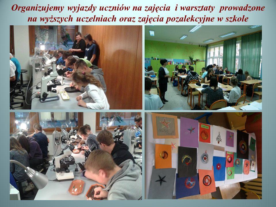 Organizujemy wyjazdy uczniów na zajęcia i warsztaty prowadzone na wyższych uczelniach oraz zajęcia pozalekcyjne w szkole