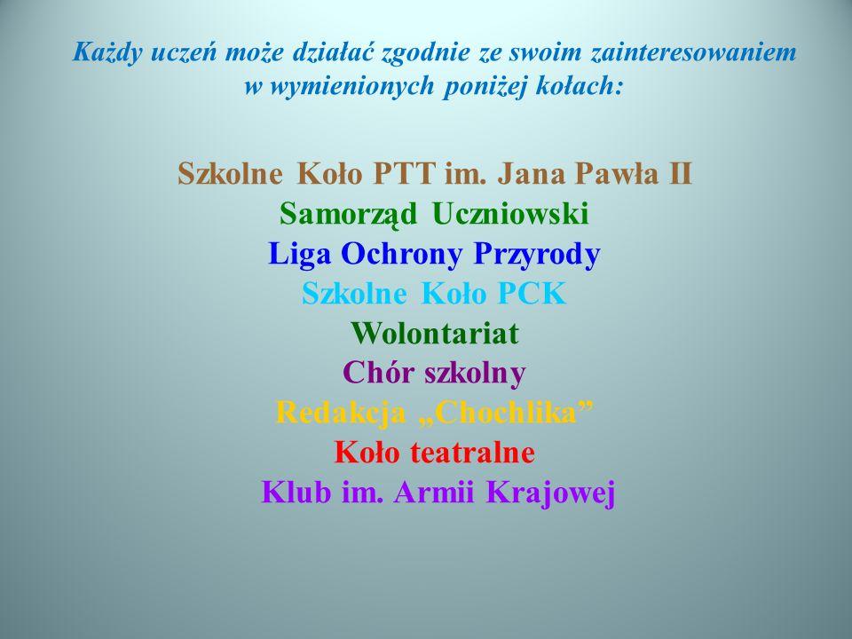Każdy uczeń może działać zgodnie ze swoim zainteresowaniem w wymienionych poniżej kołach: Szkolne Koło PTT im.