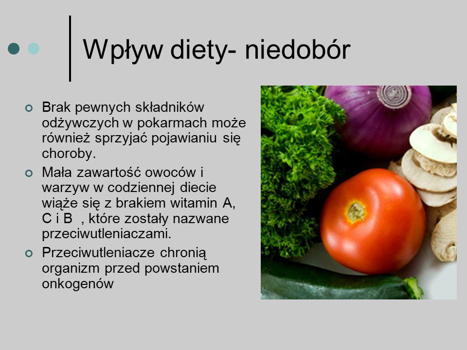 Wpływ diety- niedobór Brak pewnych składników odżywczych w pokarmach może również sprzyjać pojawianiu się choroby.