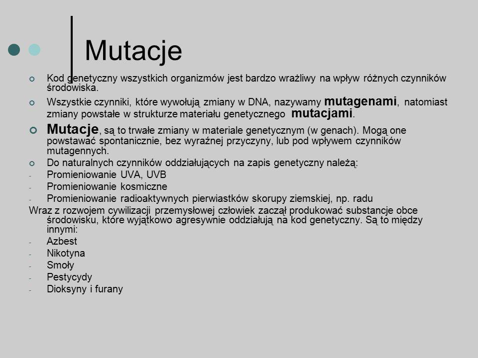 Mutacje Kod genetyczny wszystkich organizmów jest bardzo wrażliwy na wpływ różnych czynników środowiska. Wszystkie czynniki, które wywołują zmiany w D