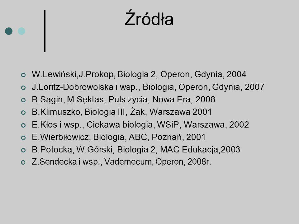 Źródła W.Lewiński,J.Prokop, Biologia 2, Operon, Gdynia, 2004 J.Loritz-Dobrowolska i wsp., Biologia, Operon, Gdynia, 2007 B.Sągin, M.Sęktas, Puls życia