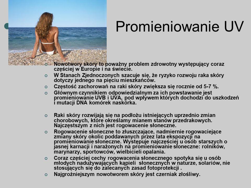 Promieniowanie UV Nowotwory skóry to poważny problem zdrowotny występujący coraz częściej w Europie i na świecie. W Stanach Zjednoczonych szacuje się,